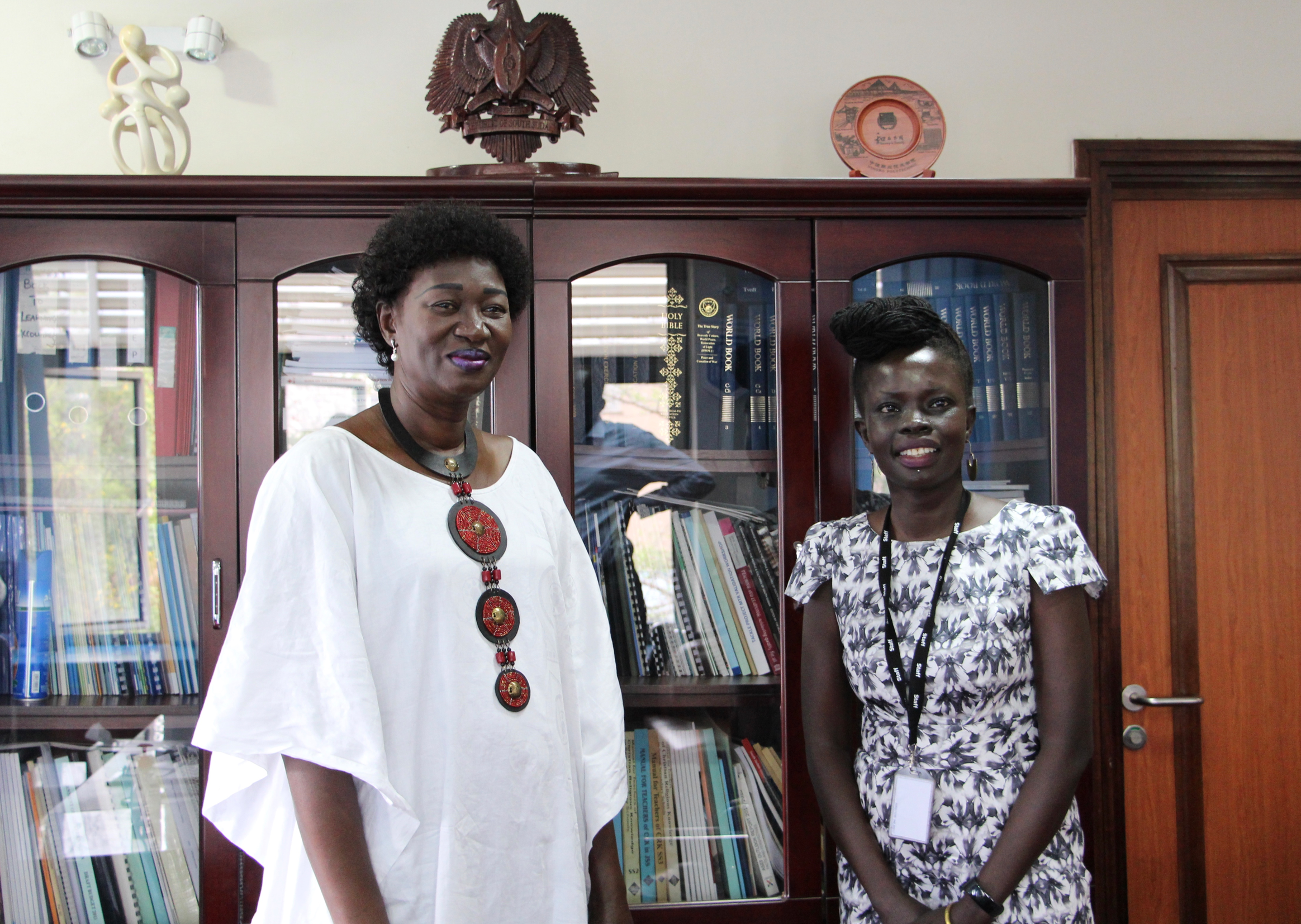 Honourable Minister of Education, Awut Deng Acuil and GESS Team Leader, Akuja de Garang MBE meet to discuss the way forward during the time of Covid-19