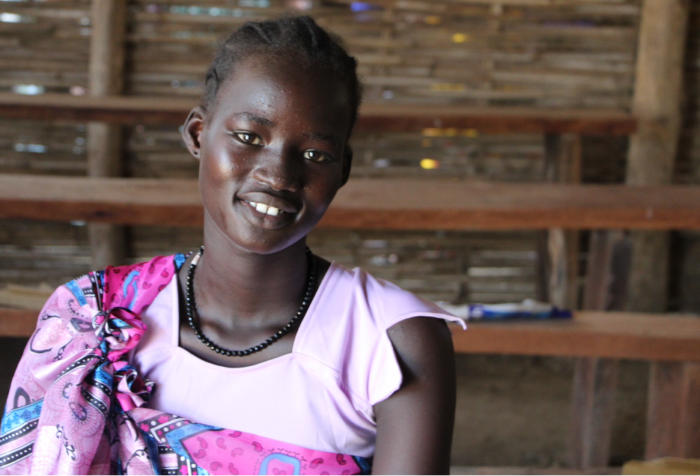 Young mother in Juba's Protection of Civilians (poC) camp