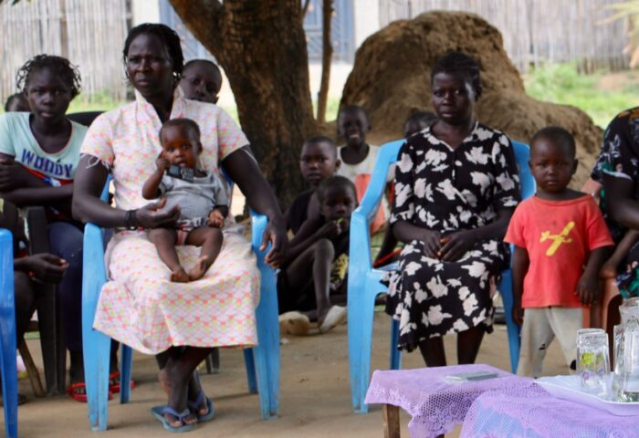 Family listening group in South Sudan