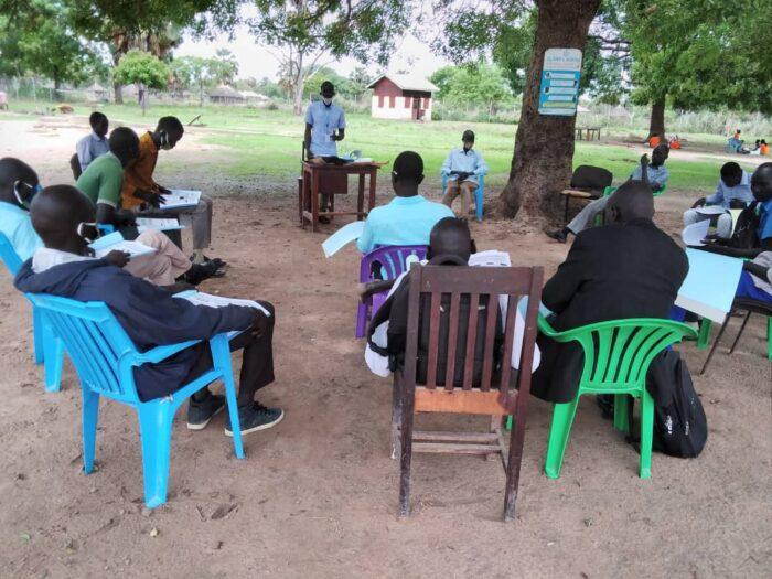 Head teacher and teach training on COVID-19 South Sudan